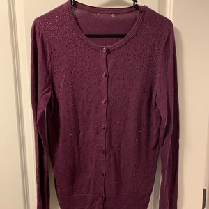 Mossimo Long Sleeve Cardigan, Button Up, Purple